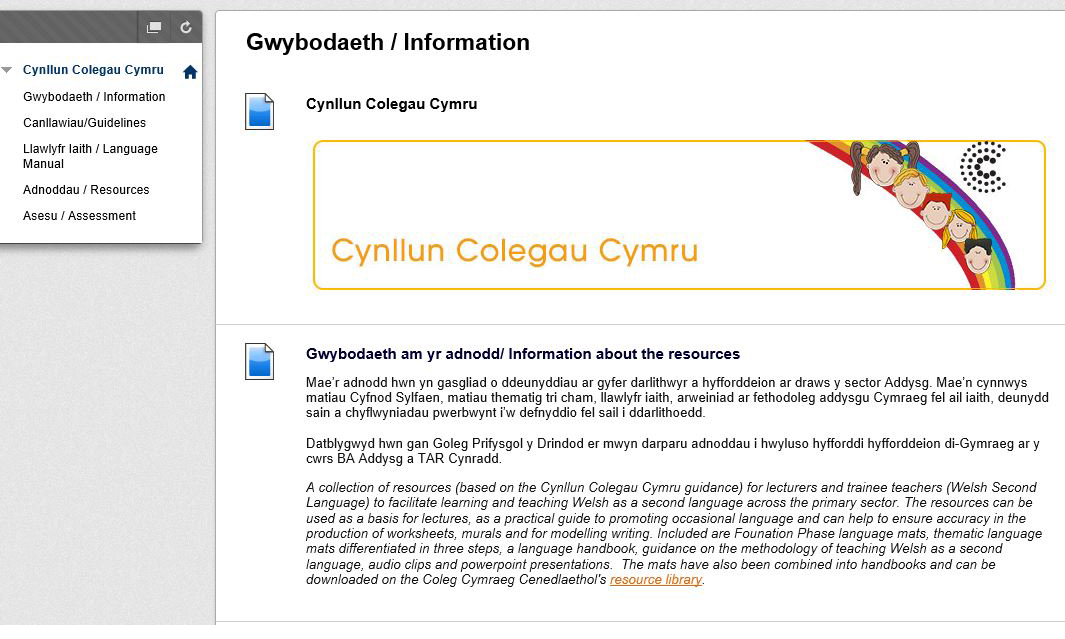Support Material for Welsh Second Language Teachers